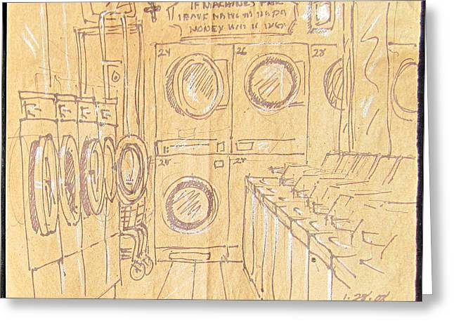 Empty Laundromat Greeting Card by Radical Reconstruction Fine Art Featuring Nancy Wood