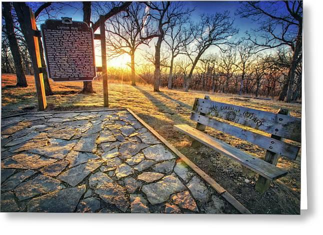 Empty Park Bench - Sunset At Lapham Peak Greeting Card by Jennifer Rondinelli Reilly - Fine Art Photography