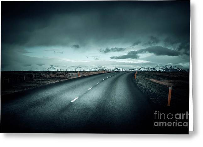 Empty Road Greeting Card by Svetlana Sewell