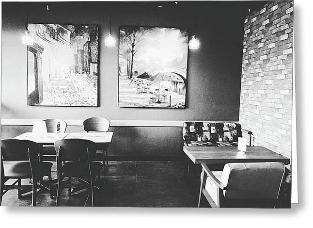 Empty Seat In Coffee Shop. Greeting Card by Sirikorn Techatraibhop