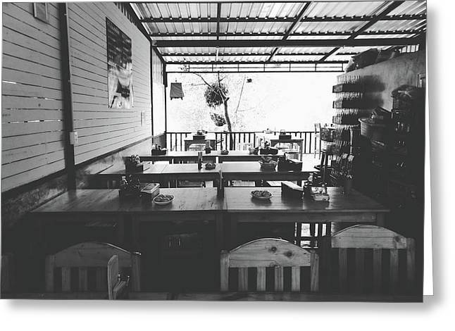 Empty Seat In Open Local Restaurant Black And White Color Greeting Card by Siri