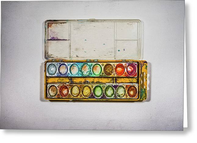 Empty Watercolor Paint Trays Greeting Card by Scott Norris