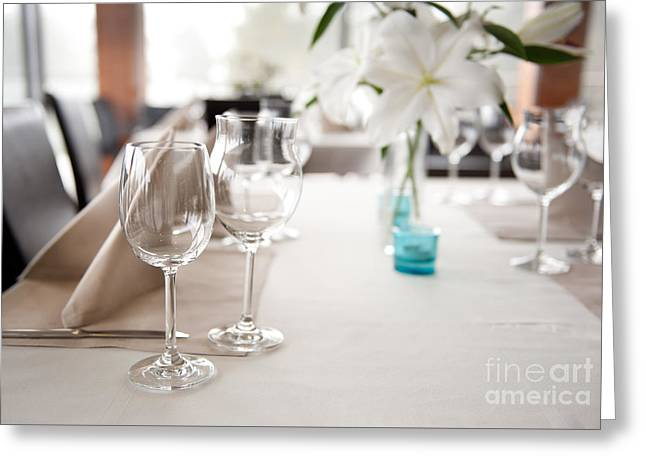 Empty Wineglasses And White Lilium Lily Flowers  Greeting Card