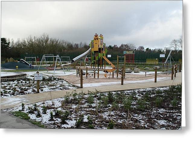 Empty Winter Playground Greeting Card by Adrian Wale