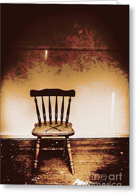 Empty Wooden Chair With Cross Sign Greeting Card by Jorgo Photography - Wall Art Gallery