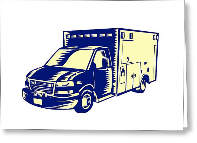 Ems Ambulance Emergency Vehicle Woodcut Greeting Card by Aloysius Patrimonio