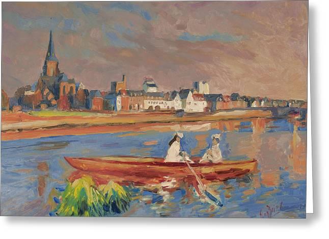 En Bateau De Renoir Sur La Meuse A Maestricht Greeting Card by Nop Briex
