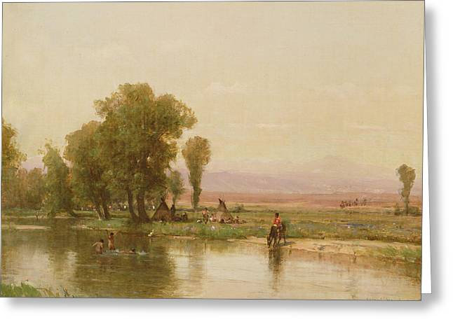 Encampment On The Platte River Greeting Card