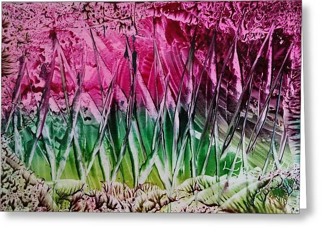 Encaustic Abstract Pinks Greens Greeting Card