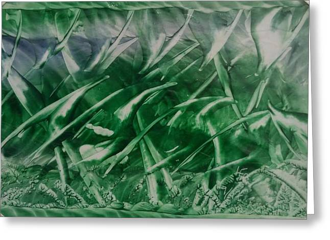 Encaustic Green Foliage With Some Blue Greeting Card