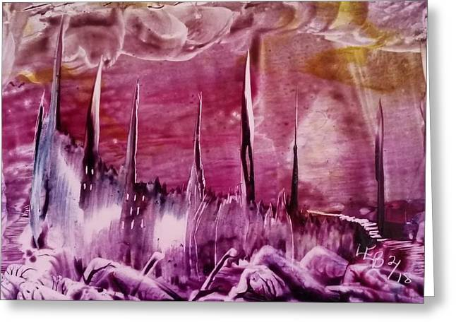 Encaustic Purple-pink Abstract Castles Greeting Card
