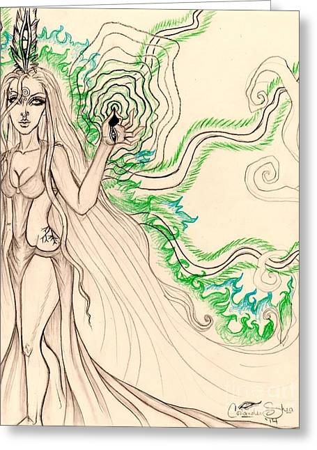 Enchanted By An Emerald Flame Sketch Greeting Card by Coriander Shea
