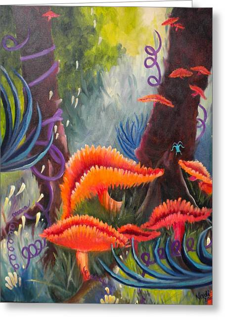 Greeting Card featuring the painting Enchanted Forest by Renate Nadi Wesley