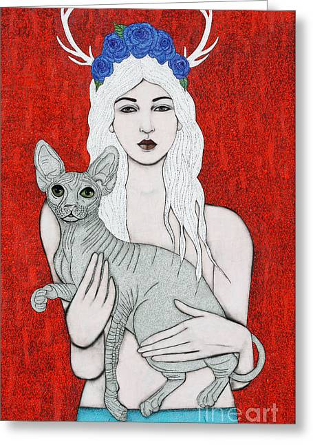 Greeting Card featuring the mixed media Enchanted by Natalie Briney
