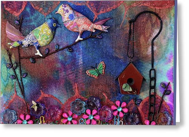 Enchanted Patchwork Greeting Card by Donna Blackhall