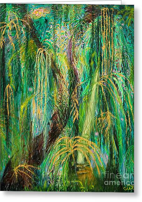 Enchanted Rain Forest Greeting Card by Anne Cameron Cutri