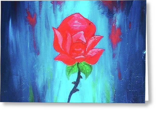 Greeting Card featuring the painting Enchanted Rose  by Jennah Lenae