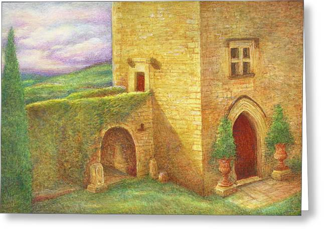Enchanting Fairytale Chateau Landscape Greeting Card