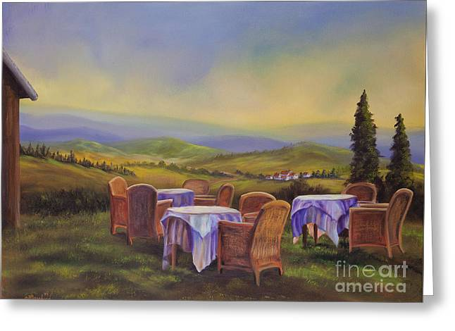End Of A Tuscan Day Greeting Card by Charlotte Blanchard