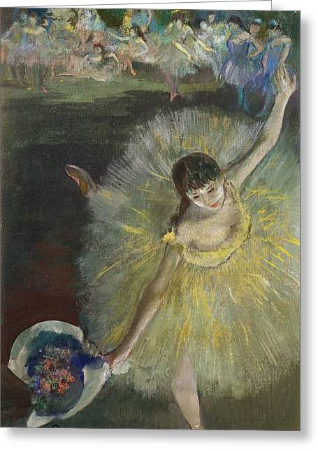 Dancing Girl Pastels Greeting Cards - End of an Arabesque Greeting Card by Edgar Degas