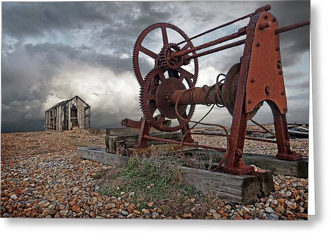 End Of An Era - Rusty Winch And Derelict Fishing Hut Greeting Card by Gill Billington
