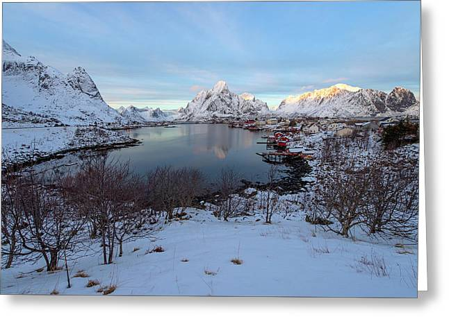 Greeting Card featuring the photograph End Of Day, Reine, Lofoten,  by Dubi Roman