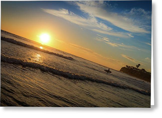 Greeting Card featuring the photograph End Of Summer Sunset Surf by T Brian Jones