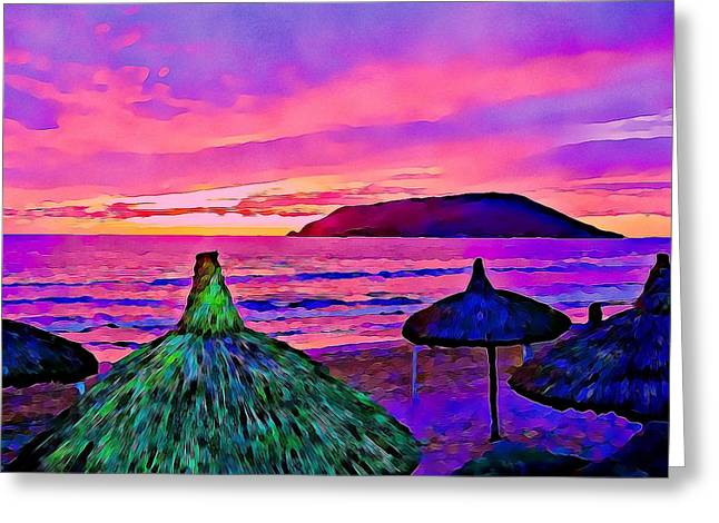 End Of The Beach Day In Mazatlan Greeting Card