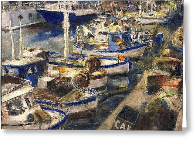 End Of The Day Fishing Boats Genoa Greeting Card