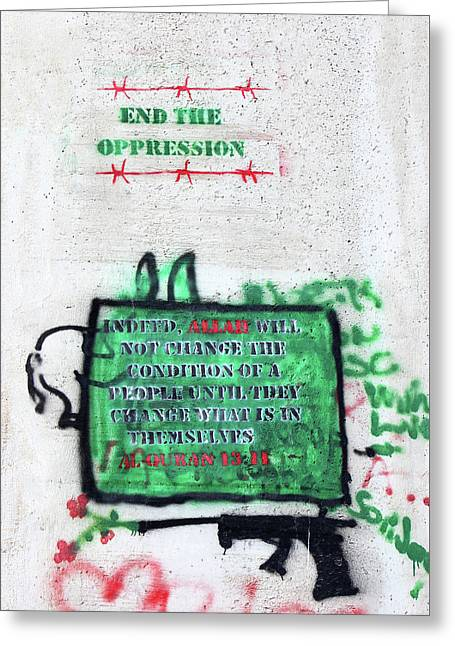 End The Oppression Greeting Card