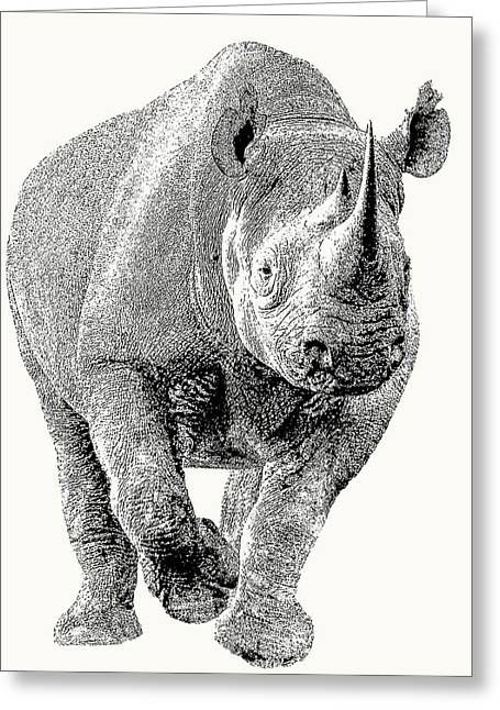 Endangered Black Rhino, Full Figure Greeting Card