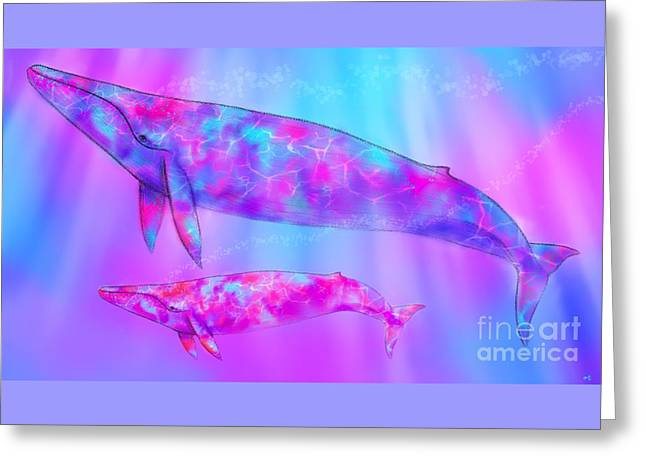 Endangered Whales Greeting Card by Nick Gustafson