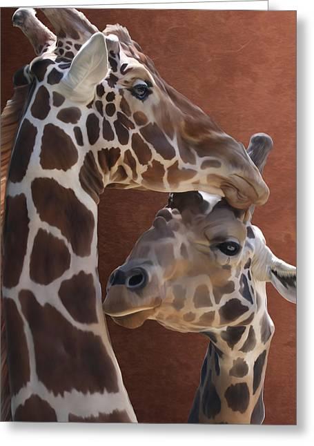 Endearing Giraffes Greeting Card