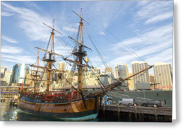Endeavour Replica Captain Cooks Ship In Sydney Greeting Card by Niel Morley