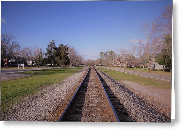 Greeting Card featuring the photograph Endless Railroad by Aaron Martens