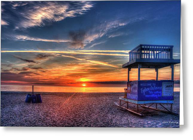 Greeting Card featuring the photograph Endless Summer Sunrise Lifeguard Stand Tybee Island Georgia Art by Reid Callaway