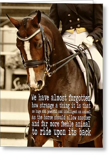 Greeting Card featuring the photograph Energy Quote by Dressage Design