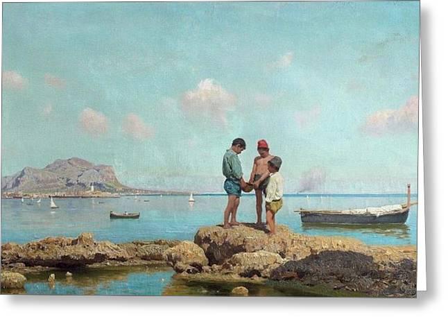 Enfant Pchant Dans La Baie De Palerme Greeting Card by Francesco Lojacono