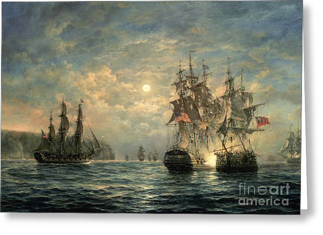 Warfare Paintings Greeting Cards - Engagement Between the Bonhomme Richard and the  Serapis off Flamborough Head Greeting Card by Richard Willis