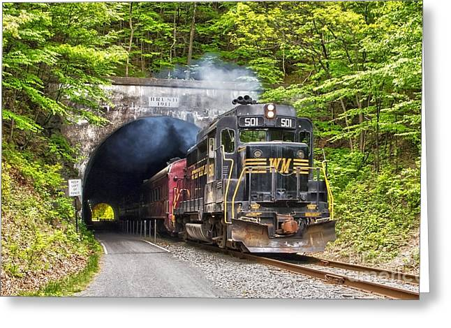Engine 501 Coming Through The Brush Tunnel Greeting Card