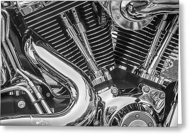 Greeting Card featuring the photograph Engine Chrome In Black And White by Samuel M Purvis III