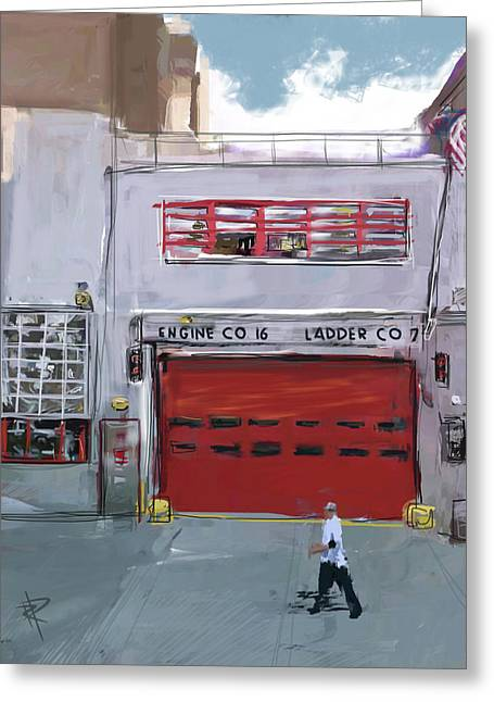 Engine Co. 16 Greeting Card by Russell Pierce