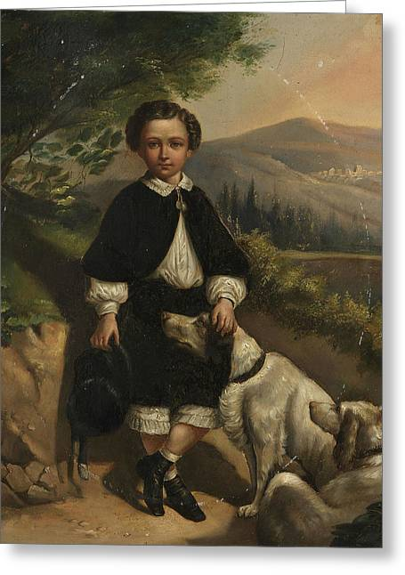 England Boy Portrait With Dogs Greeting Card by MotionAge Designs