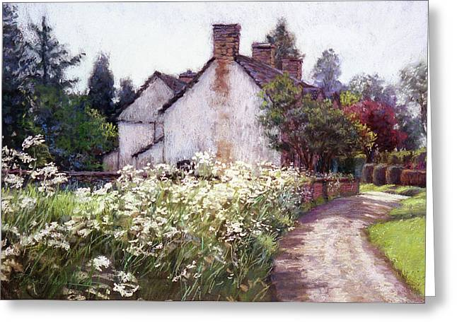Queen Pastels Greeting Cards - England Cottage Greeting Card by L Diane Johnson