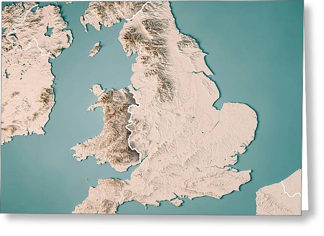 England Country 3d Render Topographic Map Neutral Border Greeting Card