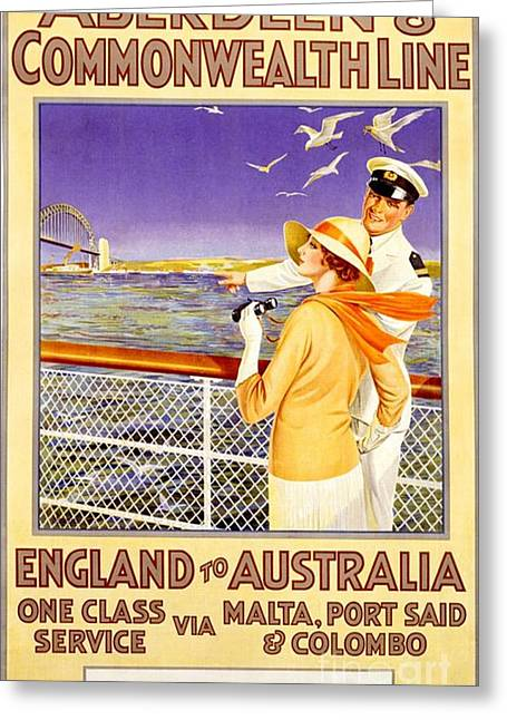 England To Australia Greeting Card