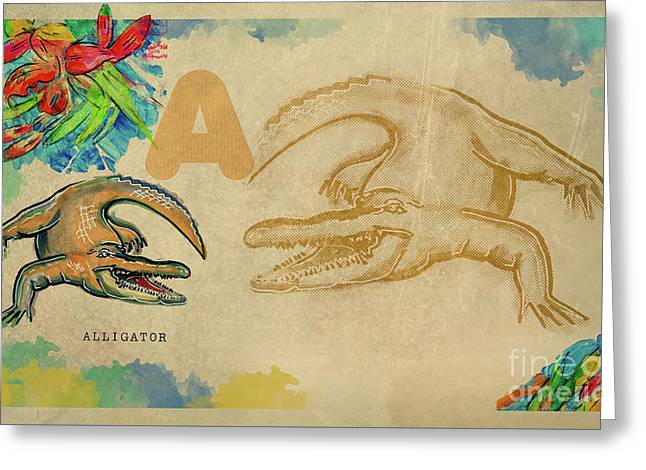 Greeting Card featuring the drawing English Alphabet , Alligator  by Ariadna De Raadt