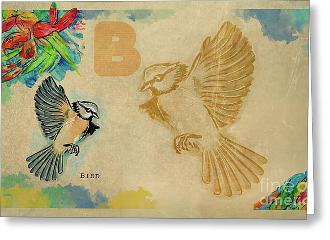 Greeting Card featuring the drawing English Alphabet , Bird by Ariadna De Raadt