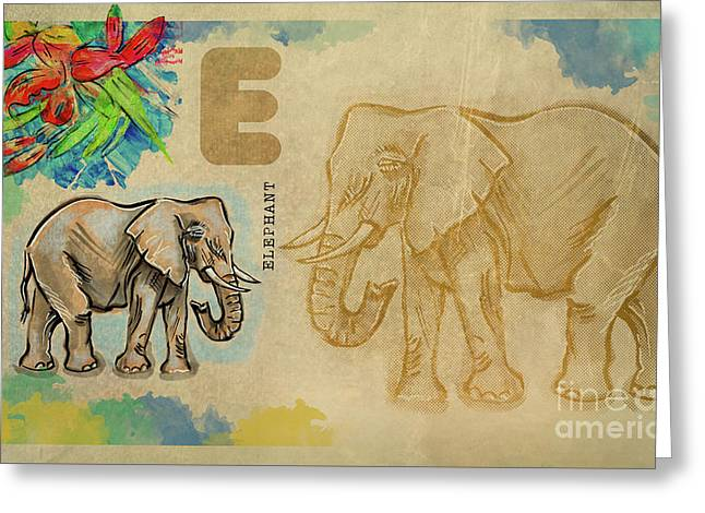 Greeting Card featuring the drawing English Alphabet , Elephant by Ariadna De Raadt