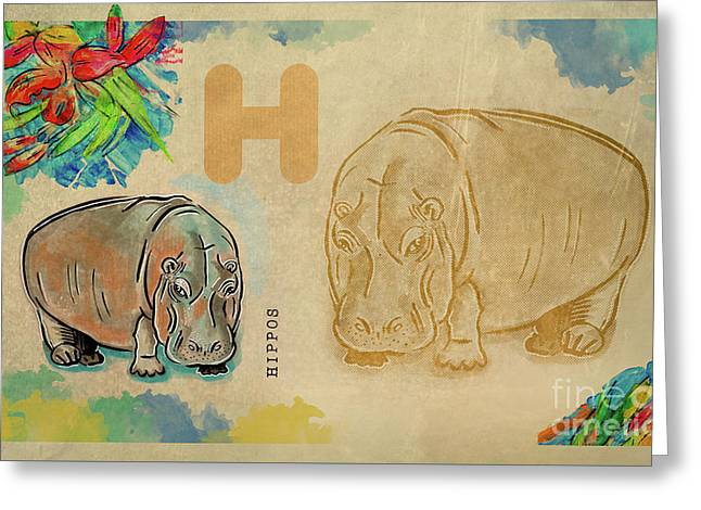 Greeting Card featuring the drawing English Alphabet ,  Hippos by Ariadna De Raadt